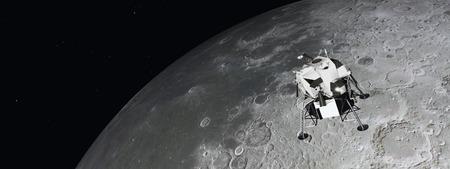 Modulo lunare vicino alla luna Archivio Fotografico - 65352313