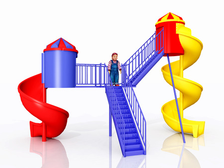 baby playing toy: Child on a playground set against a white background