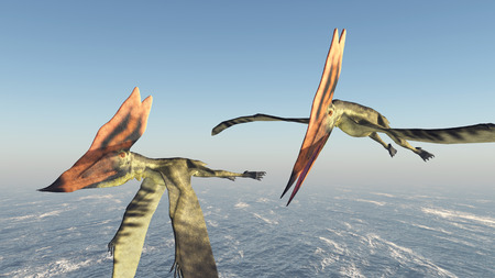 pterosaur: Pterosaur thalassodromeus over the ocean Stock Photo