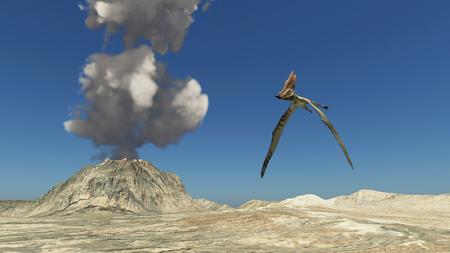 pterosaur: Volcano and the pterosaur thalassodromeus Stock Photo