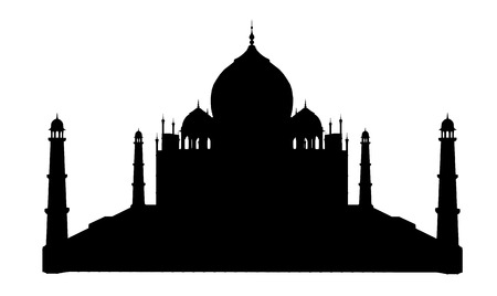 mausoleum: Silhouette of the Taj Mahal in India