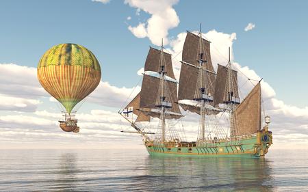 corvette: Fantasy hot air balloon and sailing ship Stock Photo