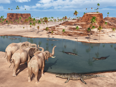 Elephants and crocodiles at a waterhole Stock Photo