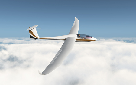 Glider over the clouds Stock Photo