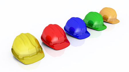 hard hats: Hard hats against a white background