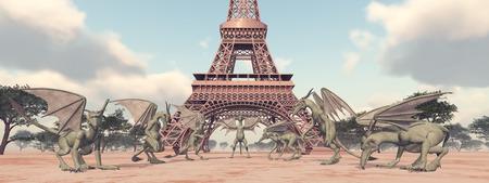 gargoyles: Gargoyles in front of the Eiffel Tower Stock Photo