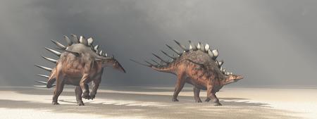 monstrous: Dinosaur Kentrosaurus in the desert