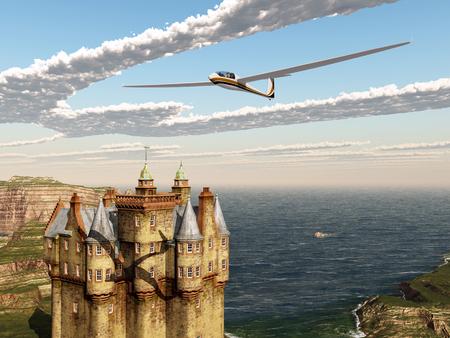Glider over a Scottish castle Stock Photo