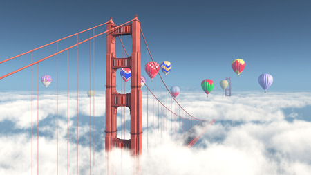 Golden Gate Bridge in San Francisco and hot air balloons