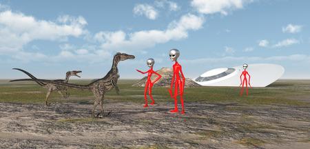 crashed: Crashed spaceship, aliens and velociraptors