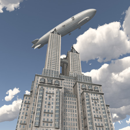 blimp: Zeppelin over a skyscraper
