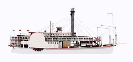 Vista lateral de un barco de vapor del Mississippi Foto de archivo - 68692130