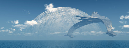 Huge spaceship over the sea Stock Photo