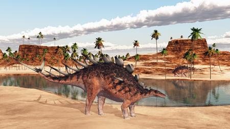 pozo de agua: Dinosaurio de Kentrosaurus en una charca