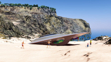 Crashed spaceship at the beach