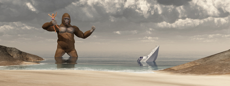sunken: Huge gorilla, woman in his hand and sunken boat