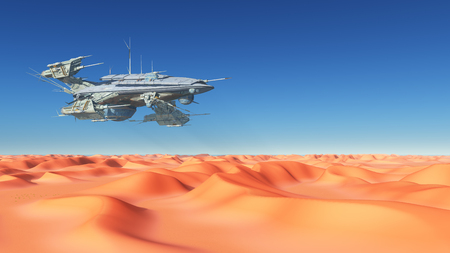 sand dunes: Huge spaceship over the desert