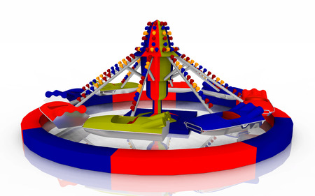at leisure: Amusement ride against a white background