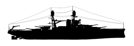 world war two: Silhouette of an American battleship of World War II