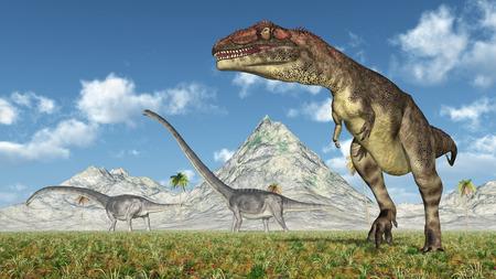 Mapusaurus and Omeisaurus Stock Photo
