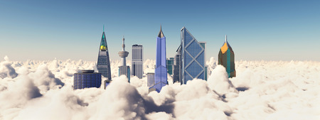Skyscrapers over the clouds