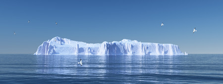 cloudless: Iceberg and seagulls Stock Photo