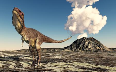 powerful volcano: Dinosaur Mapusaurus and volcano