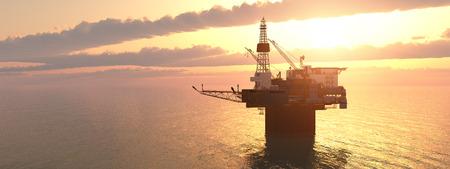 oil platform: Oil platform at sunset
