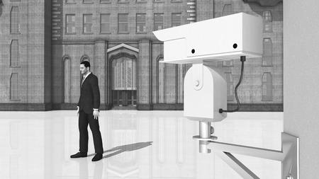 surveillance camera: Surveillance camera and passing man