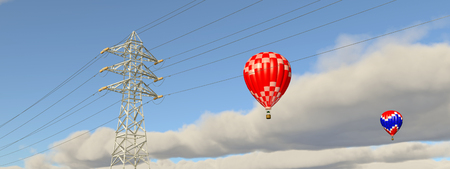 pylon: Hot air balloons and overhead power line
