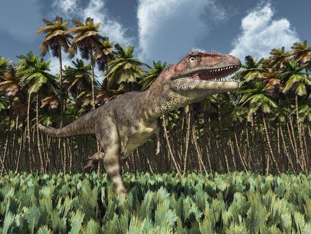 monstrous: Dinosaur Mapusaurus in the jungle Stock Photo