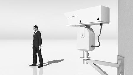 oversee: Surveillance camera and passing man