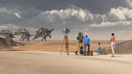 filming: Film crew and the dinosaur Stegosaurus
