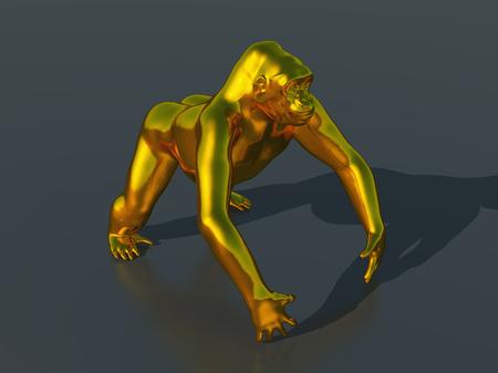 plated: Golden gorilla Stock Photo