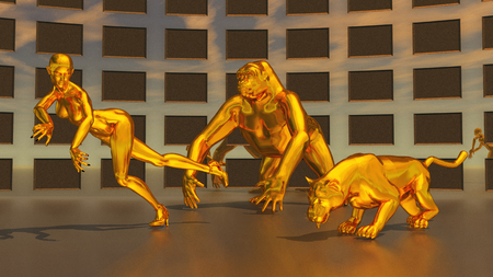 Golden sculptures of woman, gorilla and leopard Stock Photo