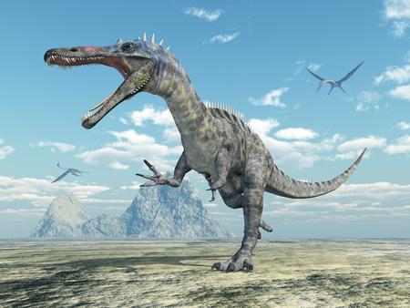 Dinosaur Suchomimus and pterosaur Quetzalcoatlus