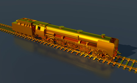 railway transportation: Golden steam locomotive