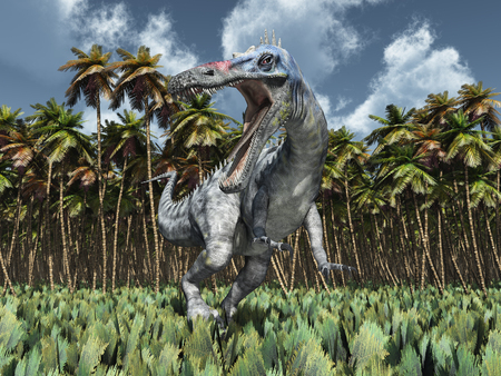 monstrous: Dinosaur Suchomimus in the jungle Stock Photo