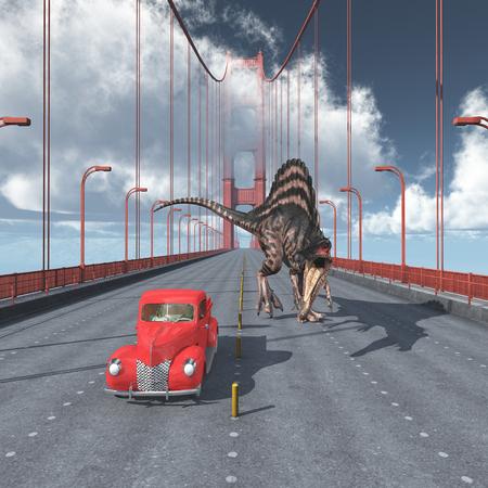 サンフランシスコのゴールデン ゲート ブリッジの恐竜 写真素材