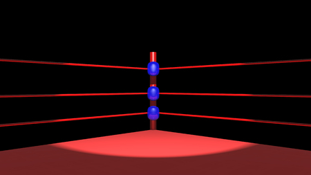 Boxing ring against a black background