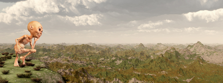 Dwarf in front of a landscape