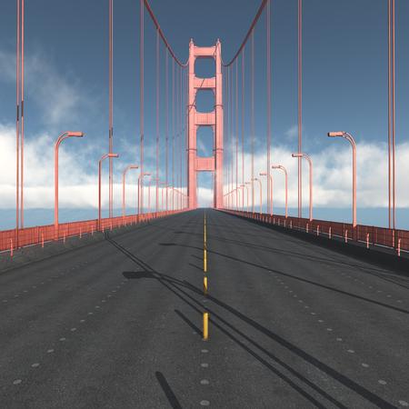 サンフランシスコのゴールデン ゲート ブリッジの道路