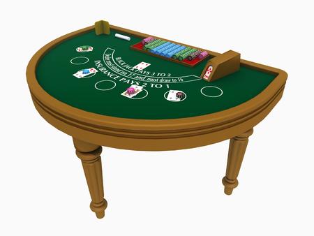 Blackjack table isolated on white background