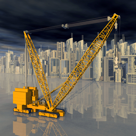 Construction crane in front of a city landscape Imagens