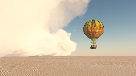 Dust storm and fantasy hot air balloon