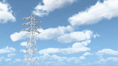 powerline: Overhead power line Stock Photo