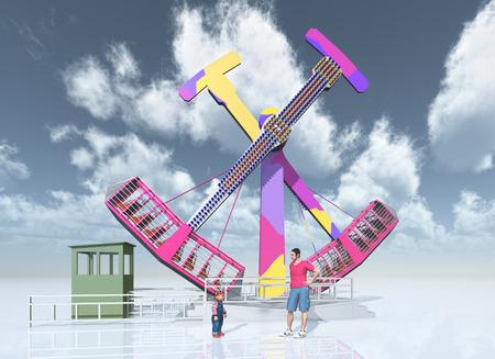 freetime activity: Man, child and amusement park ride Stock Photo
