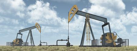 horsehead pump: Oil pumps in a landscape