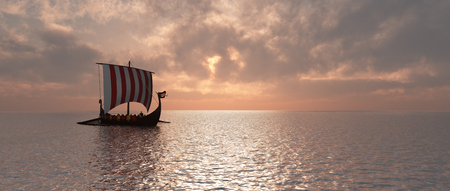 Viking ship at dusk Stock Photo