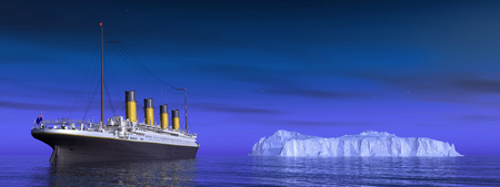 Titanic and iceberg